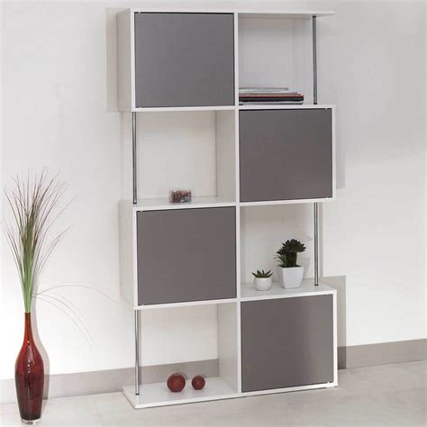 meuble pour cuisine pas cher etagère bibliothèque semi fermée blanc taupe 2007a2191a01