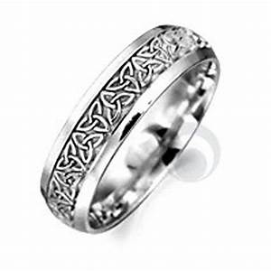 Celtic patterned platinum wedding ring wedding dress from for Platinum irish wedding rings