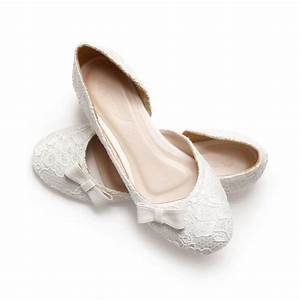 ivory lace white satin wedding 1 inch ballerinas ivory With dress flats for wedding