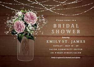 whimsical rustic flowers bridal shower invitation