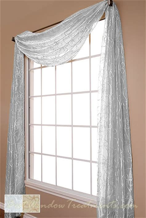 Lasandra Sheer Scarf Swag Window Topper available in 2 colors