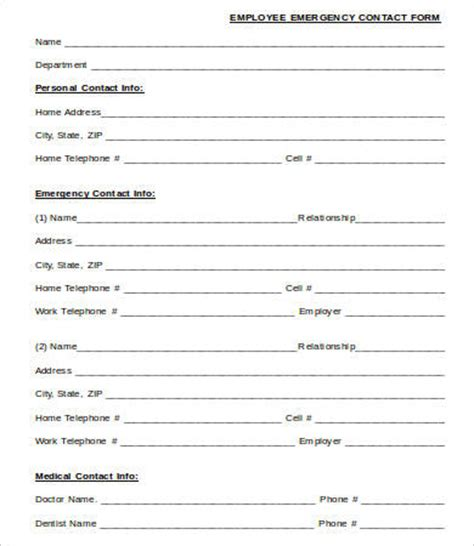 emergency contact forms    premium