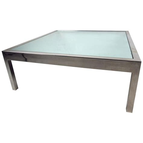 Unique Midcentury Mirrored Glass And Chrome Coffee Table