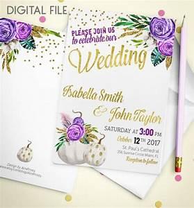 wedding invitation printable pumpkin wedding invitation With gold pumpkin wedding invitations