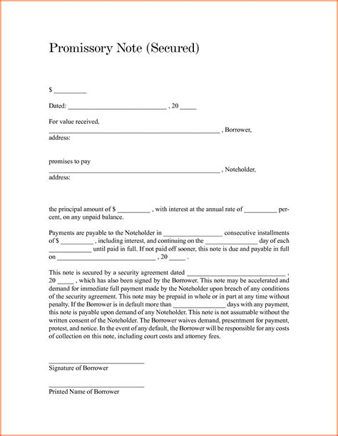 Secured Promissory Note Template Free by Promissory Note Template Hunecompany