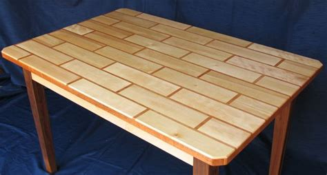 wooden table with tile top building a tile patterned table top
