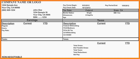 excel pay stub template canada glendale community