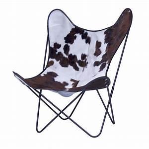 Fauteuil Peau De Vache : fauteuil aa butterfly en peau de vache marron noire blanche aa new design ~ Teatrodelosmanantiales.com Idées de Décoration