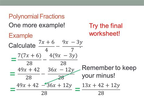 Adding And Subtracting Polynomial Fractions  Ppt Download