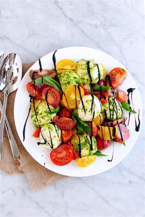 pesto caprese salad  balsamic glaze delallo