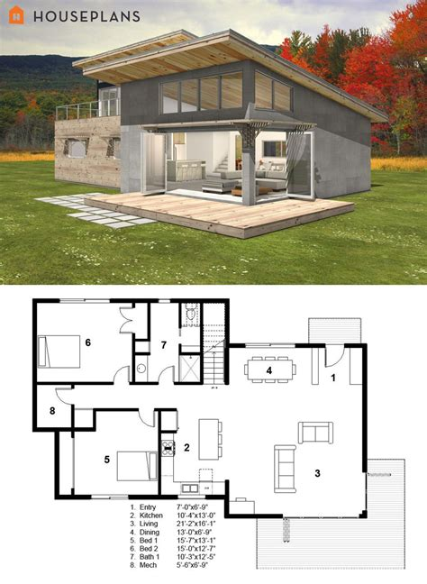 Modern House Layout by Small Modern Cabin House Plan By Freegreen Home Ideas In