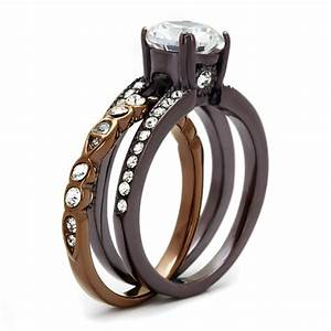 cje2560 women39s two tone ip dark brown cz wedding ring set With two tone wedding rings for women
