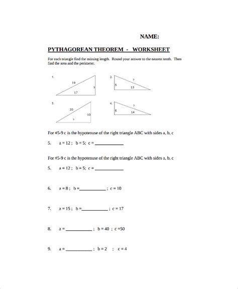 10 pythagorean theorem worksheet sle templates