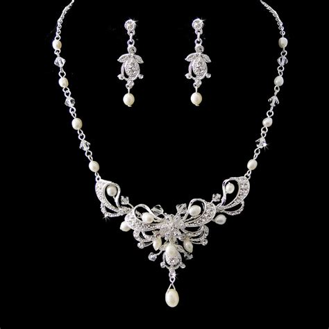 silver austrian crystal freshwater pearl bridal necklace