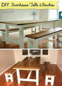 DIY Farmhouse Table and Bench Using Free Plans from Ana White