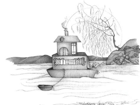 Houseboat Sketch by Abstract Landscape Black And White Boat House Annies
