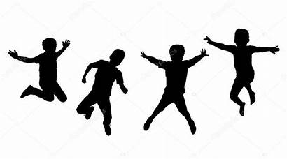 Children Silhouettes Jumping Background Sport Boys Happy