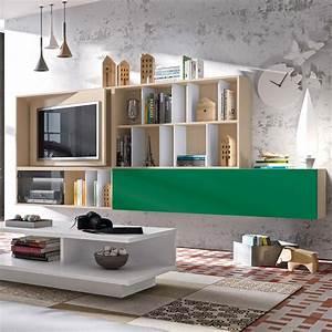 Meuble Design Tv Mural : meuble tv mural avec panneau pivotant ~ Teatrodelosmanantiales.com Idées de Décoration
