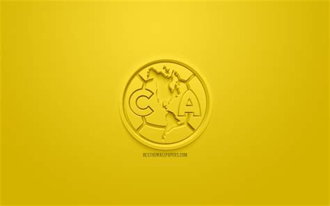 Download wallpapers Club America, creative 3D logo, yellow ...