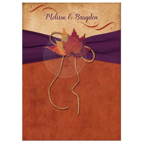 wedding invitation autumn leaves orange purple