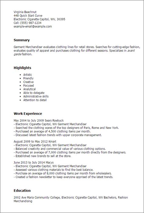 Retail Resume Template by Garment Industry Bck Sle Resume Templates Sle