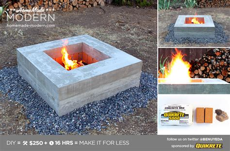 homemade modern ep concrete fire pit