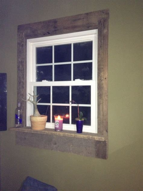pallet window casing   farmhouse trim rustic room