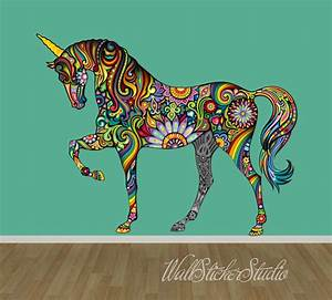 Unicorn wall decal pattern horse fabric wall decal stickers for Unicorn wall decal