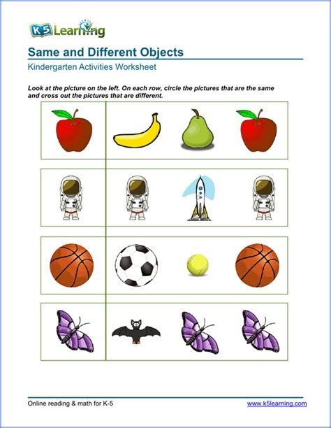 Same And Different Worksheets For Preschoolers Worksheets For All  Download And Share