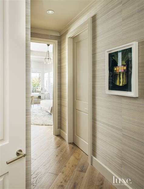 contemporary neutral hallway  wallcovering remodel