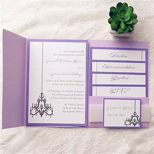 Elegant purple chandelier pocket wedding invitation kits for Wedding invitations in pockets