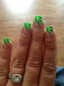 Lime green french tipped nails with design my nail