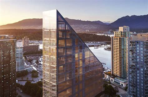 shigeru bans timber trapezoid tower  vancouver