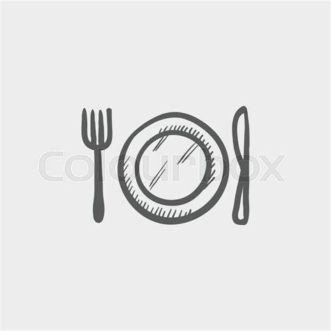 Plate, knife and fork sketch icon for web and mobile. Hand