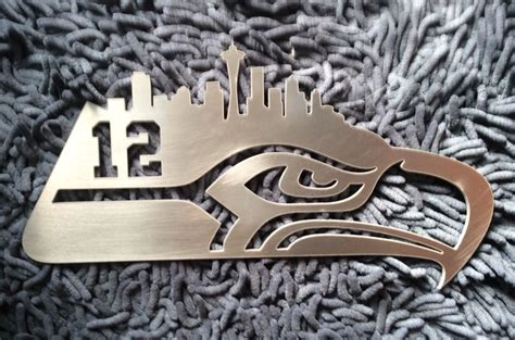 seattle seahawks metal garden sign