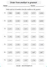 comparing numbers  ordering numbers printable math