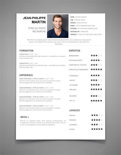 Curriculum Vitae Exemple 2016 by Cv Word 2016