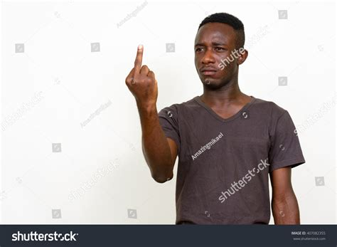 African Man Giving Middle Finger Up Stock Photo 407082355