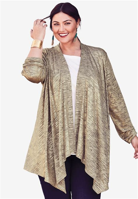 Draped Cardigans For - metallic draped cardigan plus size sweaters cardigans