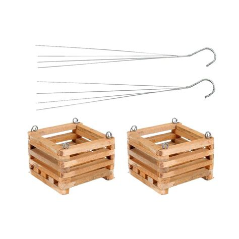 wooden garden products better gro 8 in wooden square hanging baskets 2 pack 52725 the home depot