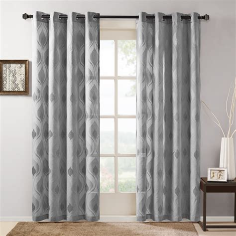 kohls sheer curtain panels park adele sheer ogee jacquard window curtain ebay