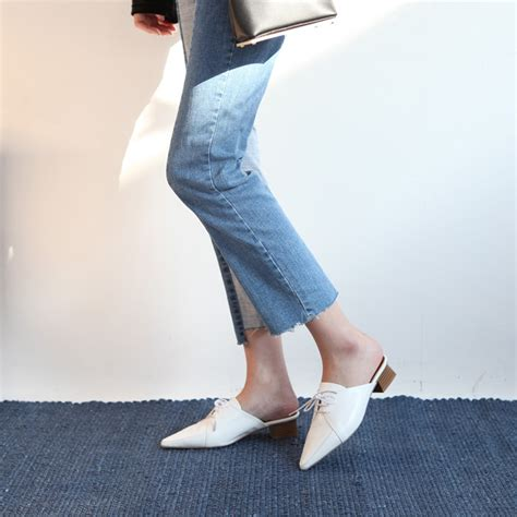 womens white pointed toe oxford  mule shoes