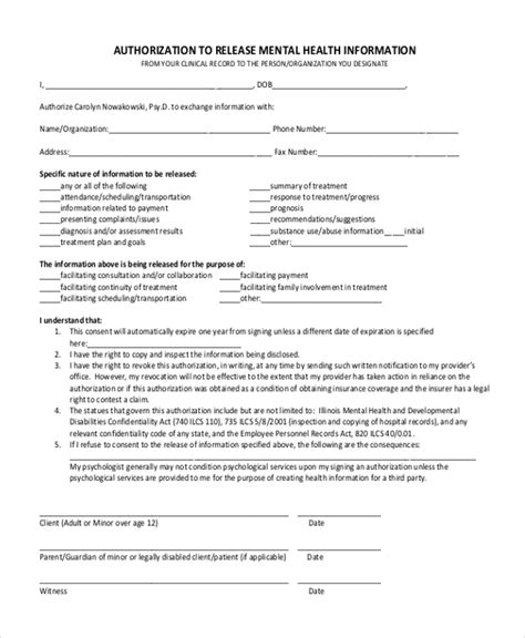 release of mental health records form sle release of information form 12 free documents in pdf