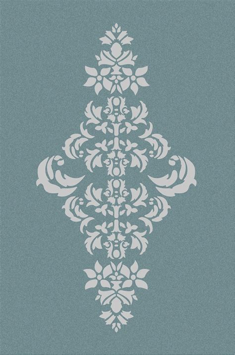 Muster Schablonen by Large Wall Damask Stencil Pattern Faux Mural 1050