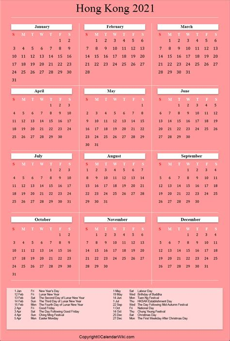 printable hongkong calendar   holidays public holidays