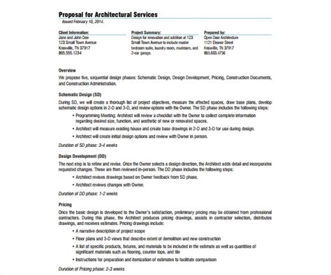 write  architectural proposal templates