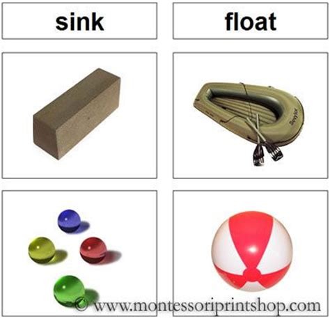 sink and float sorting cards printable montessori