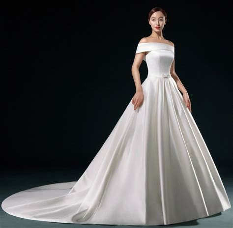 elegant white satin wedding dress  long vestidos de