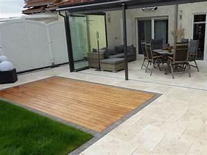 Terrasse Holz Stein : travertinplatten medium select getrommelt bodenbelag terrasse wintergarten einrichten und ~ Watch28wear.com Haus und Dekorationen