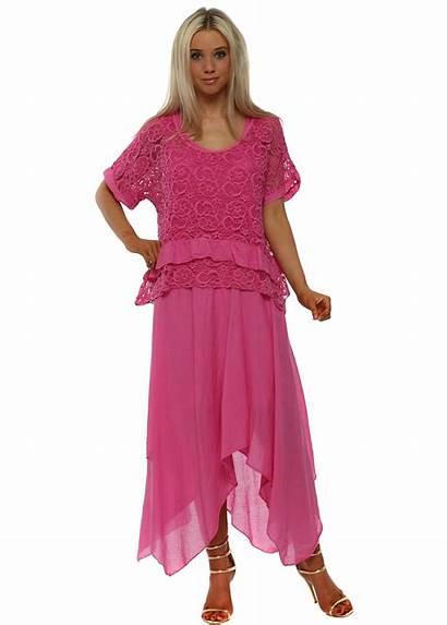 Maxi Pink Lace Handkerchief Boutique Dresses Cotton